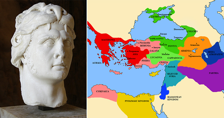 Mithridatic Wars  Portrait of the king of Pontus Mithridates VI  A     Mithridatic Wars  Portrait of the king of Pontus Mithridates VI  A map of  the Middle east  Greece and Asia minor  showing the states at the breakout of  the