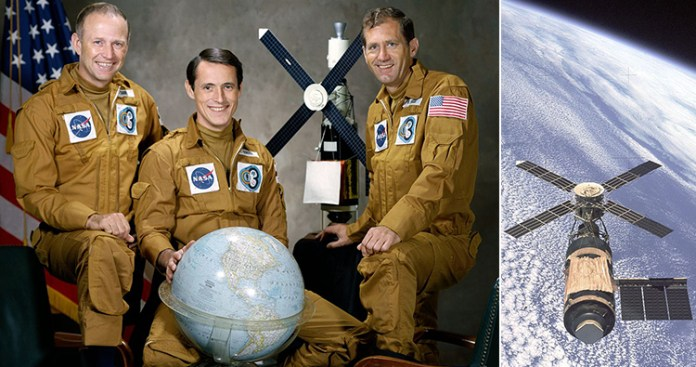 left to right, Astronaut Gerald P. Carr, commander; Scientist-Astronaut Edward G. Gibson, science pilot; and Astronaut William R. Pogue, pilot. Skylab
