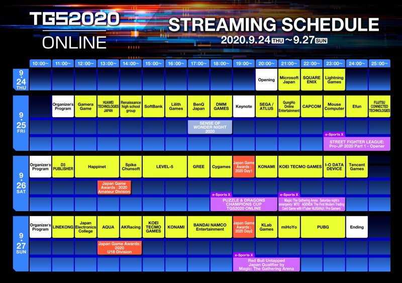 Tokyo Game Show time Table