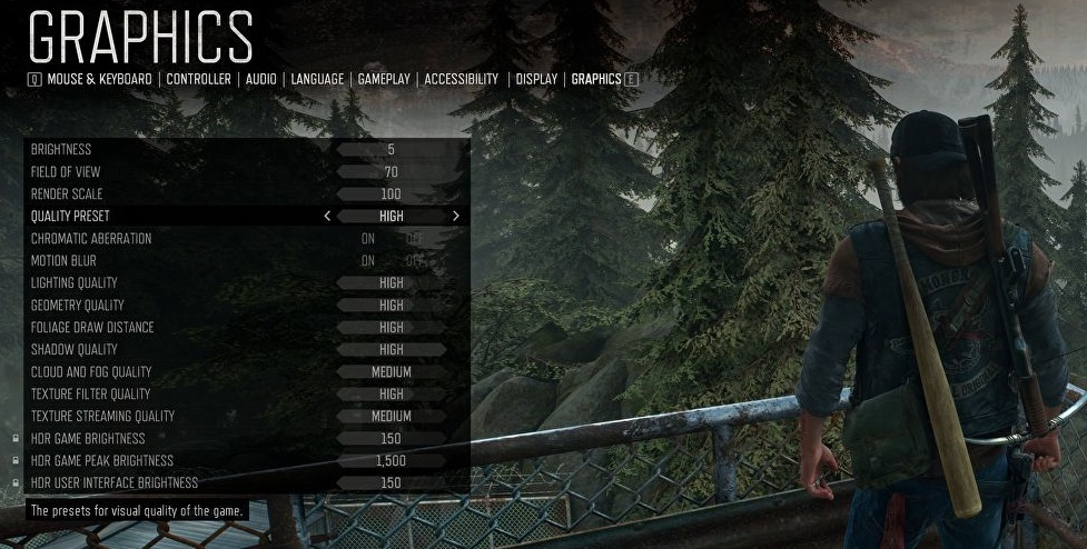 Days Gone Graphics Settings