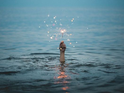 Sparkler in the sea