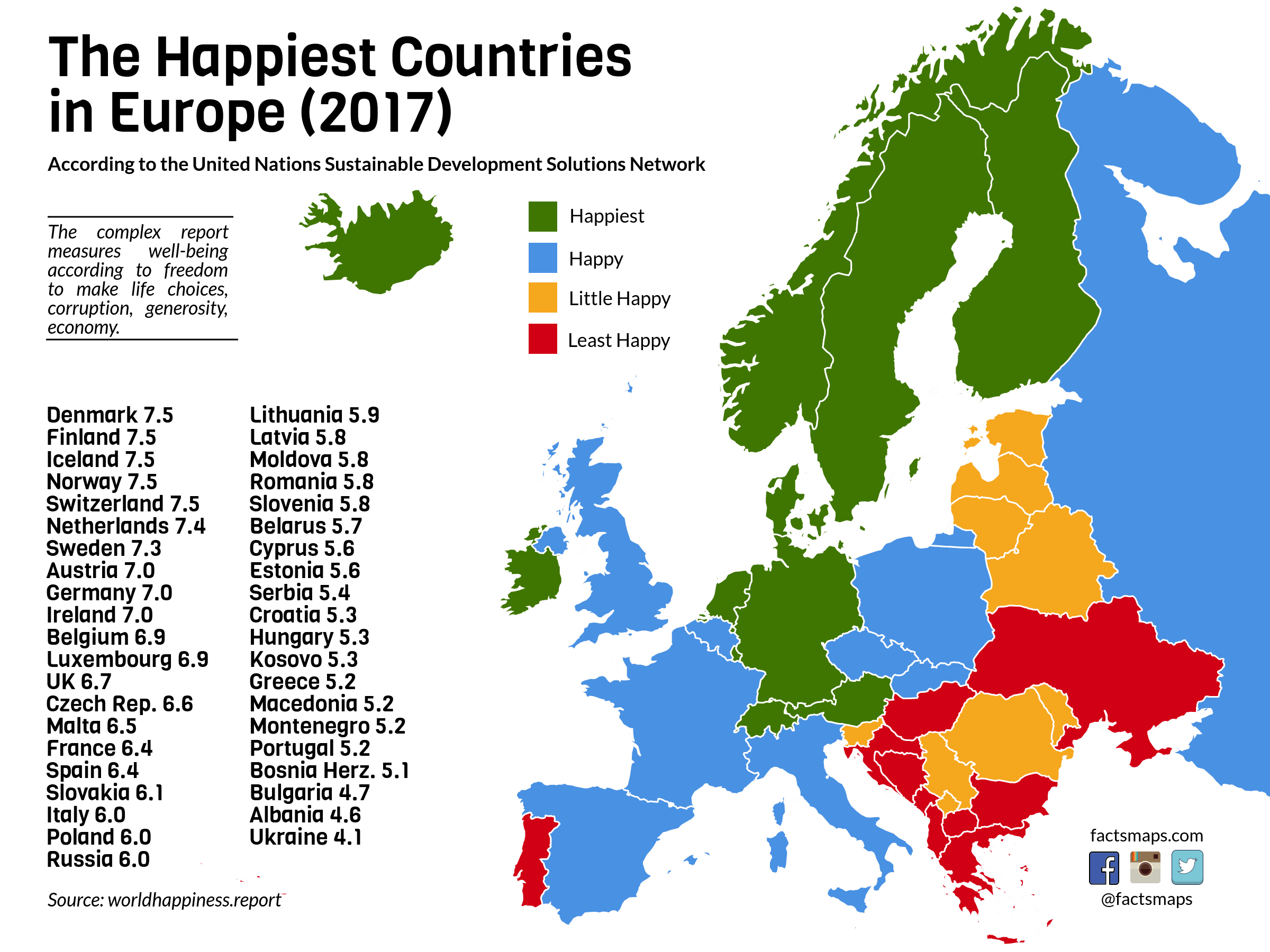 The happiest countries in europe factsmaps the happiest countries in europe gumiabroncs