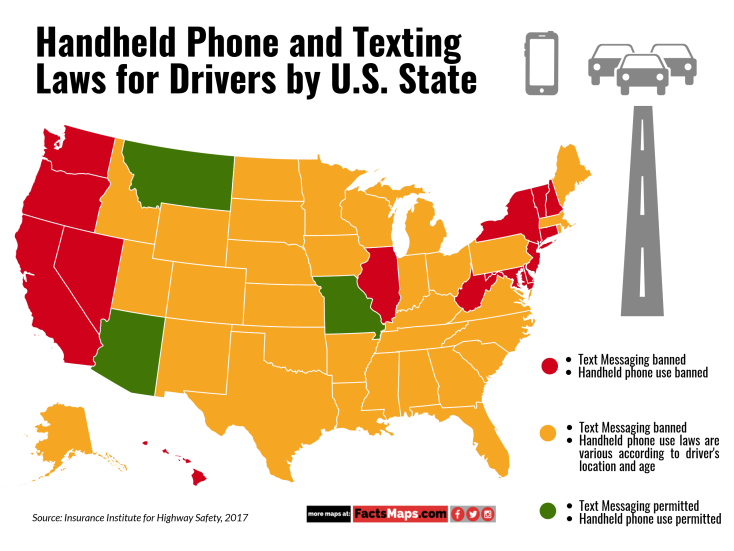 Handheld Phone and Texting Laws for Drivers by U.S. State