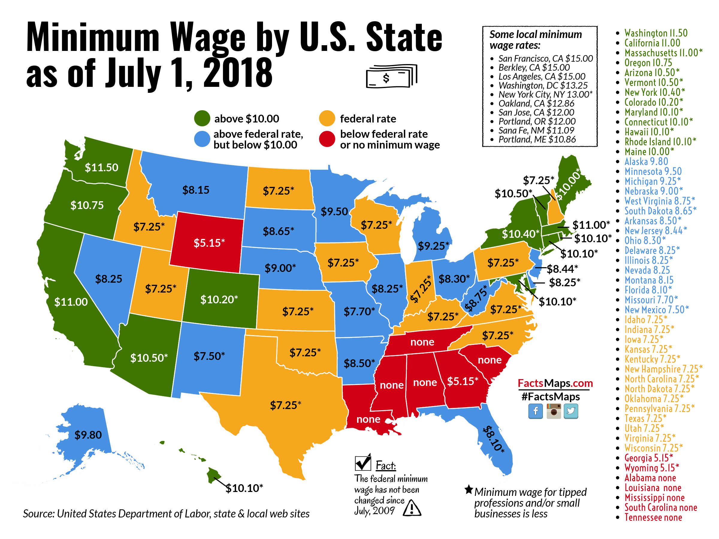 Us Minimum Wage Map Minimum Wage by U.S. State as of July 1, 2018   FactsMaps