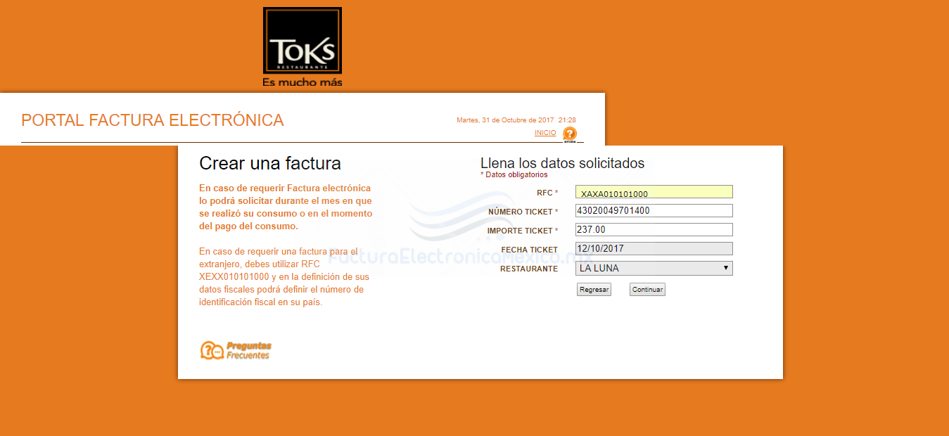 facturacion en restaurantes toks