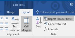 Microsoft Word Tables