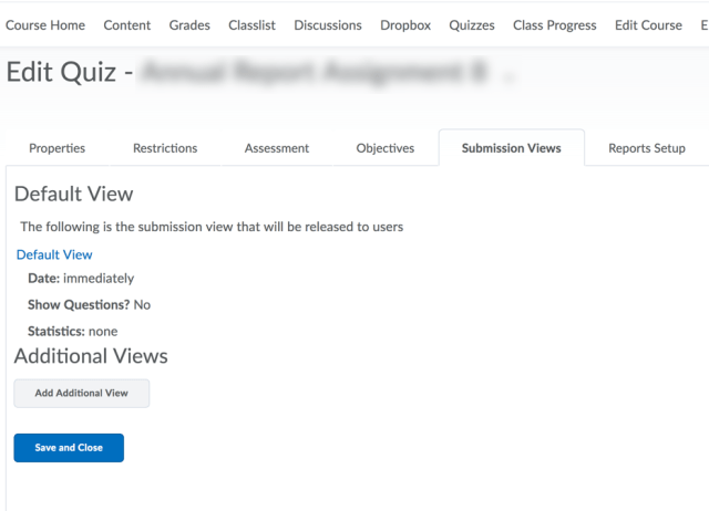 Submission Views Editor