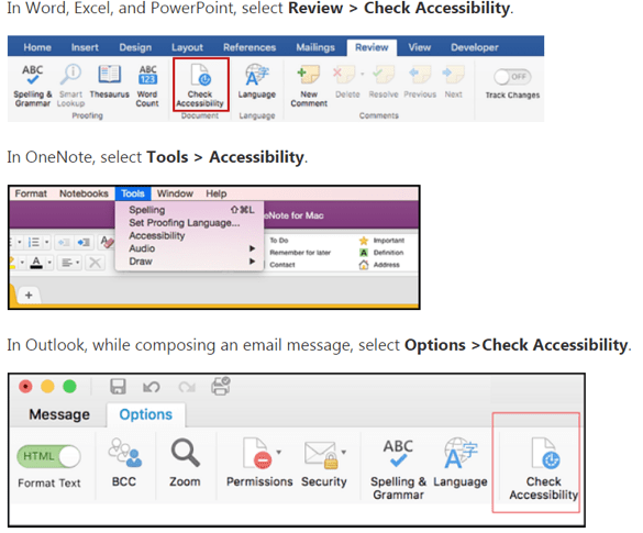 Running Accessibility Checker