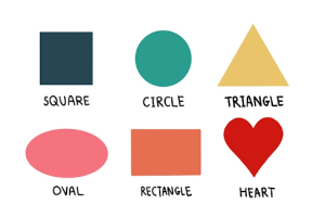 Square, circle, triangle, oval, rectangle, heart labeled