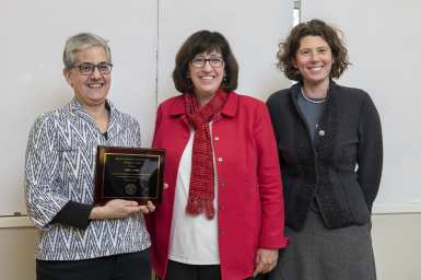 Cornell President Martha Pollack (center) with Cook Awardee Abby Cohn, professor in linguistics, and Chiara Formichi in Asian Studies.
