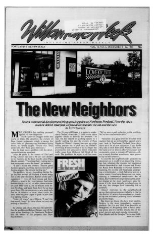 December 1983 Willamette Week article about NW Portland's growing pains.
