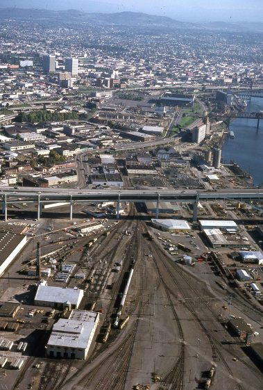 Albina Yards, looking South. October, 1977. Amazing how the tracks, roads and buildings, which appear tangled at ground level, suddenly become clear and rational when viewed from above.