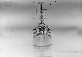 Bow on view of USS Rogers (DD 876) off Mare Island on 24 Jan 1947. Photo: US Navy