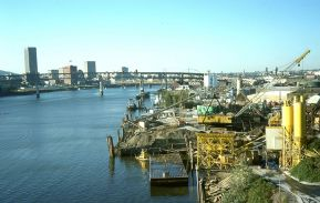 Looking down from Ross Island Bridge. Portland, OR. October, 1978.
