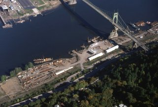 South landing of St. Johns bridge. Portland, OR. 1977