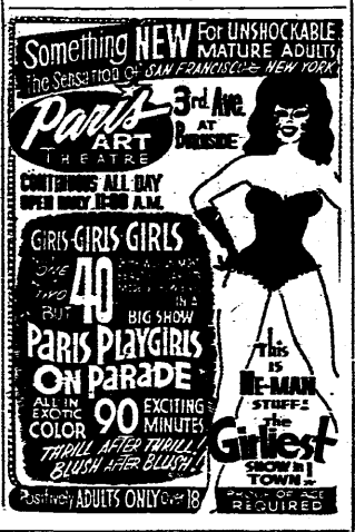 Another longtime Portland porn stronghold, the Paris, was in operation from at least this date. (1970, Oct 24). The Oregonian, p. 11.