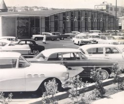 Marina Safeway 1959. While in SF, Khrushchev was supposed to view the new store –a paragon of American plenty, efficiency, and affluence. The store was meticulously arranged and prepped to showcase capitalism in it's best light but on a whim he demanded to go to another store instead.
