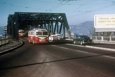 Portland Broadway Bridge, 1950s, looking West. Portland, OR.