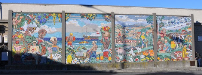 The east side of the building has lavish mosaic murals by John Garth.