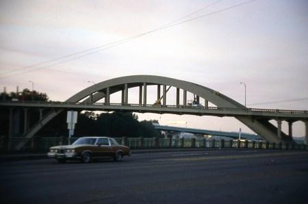 Oregon City Arch Bridge. McLoughlin Blvd near 6th, Oregon City, OR. 1986