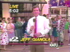 A young Jeff Gianola reporting live from PCHS on opening day. Screengrab
