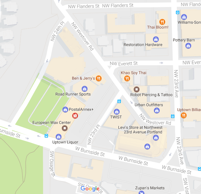 Street grid as built. Map: Google, 2016.