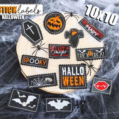 Stickdatei Label Halloween Set
