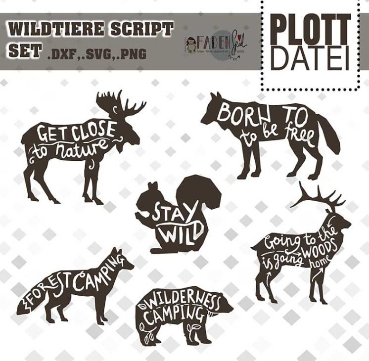 Plotterdatei #Waldtiere Script Set