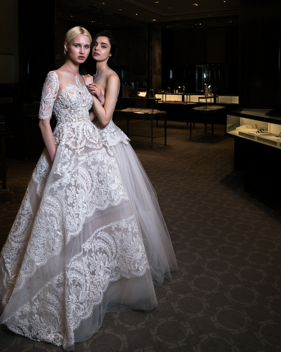 2 models in bridal gowns at Tiffany's NYC Store