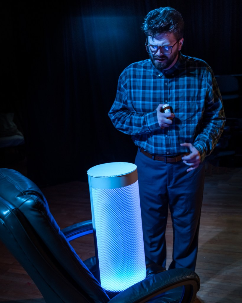 actor speaking to a robotic therapist