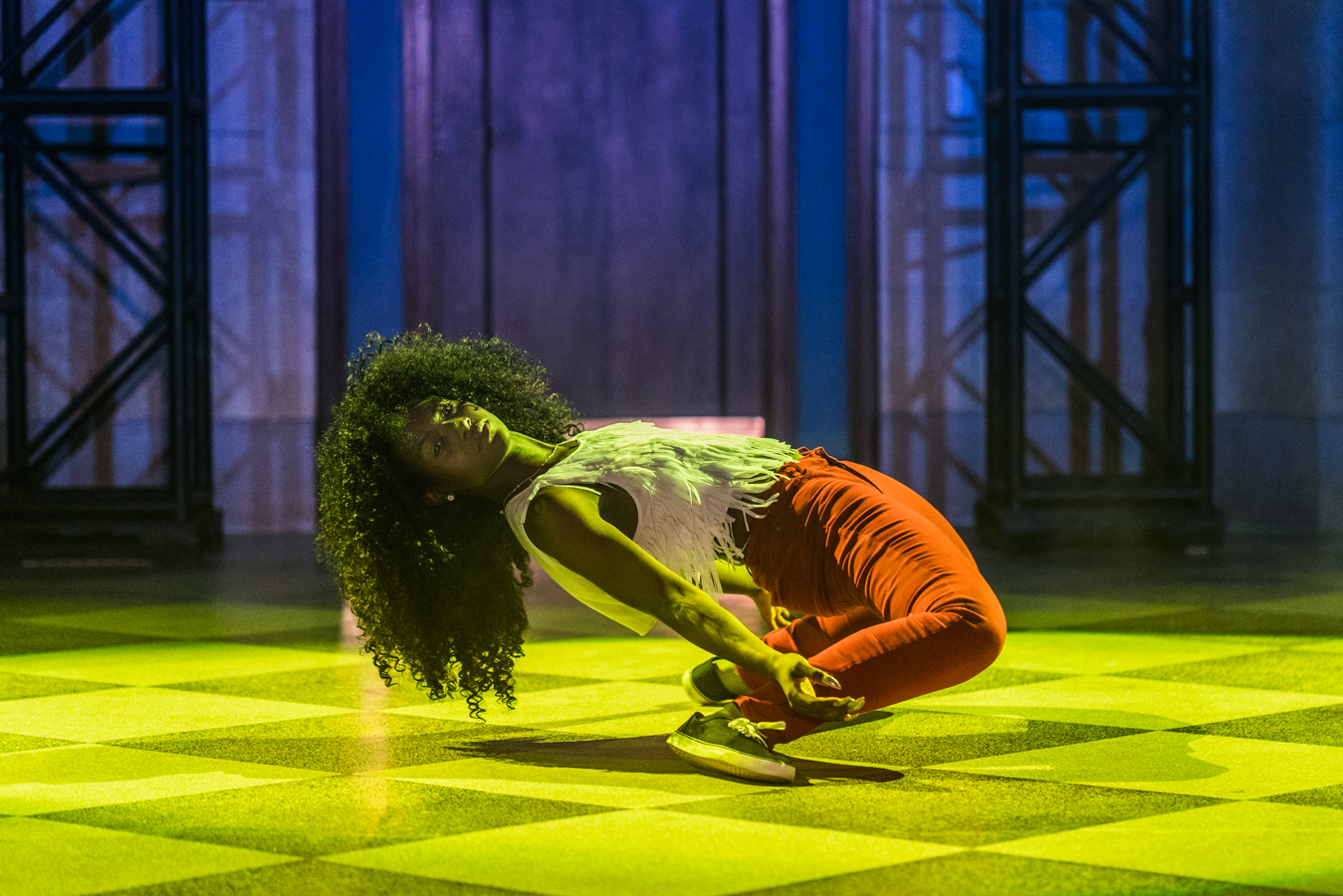 dancer bending far back