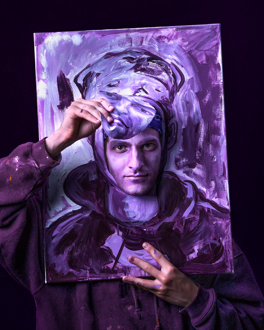painter peering through self portrait