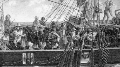 Illustration d'un navire transportant des esclaves au musée des Beaux Arts à Chartres (France).