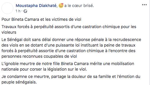 """Viols en série : Moustapha Diakhaté pour la """"castration chimique"""" des violeurs"""