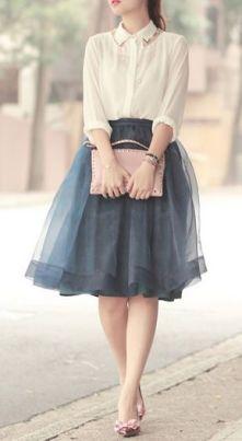 Grey Feminine Tulle Skirt worn with white collar shirt   Chai High is an Indian Fashion Blog started by Shivani Krishan