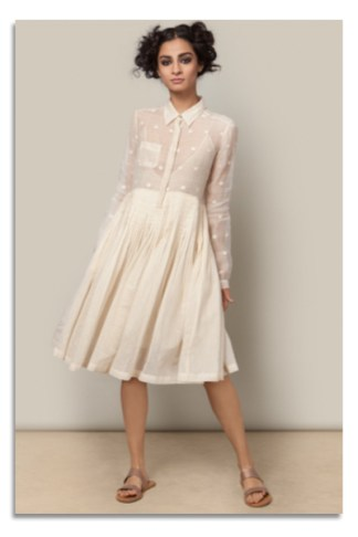 Chanderi Shirt Dress in Ivory from Nicobar | Chai High is an Indian Fashion Blog started by Shivani Krishan