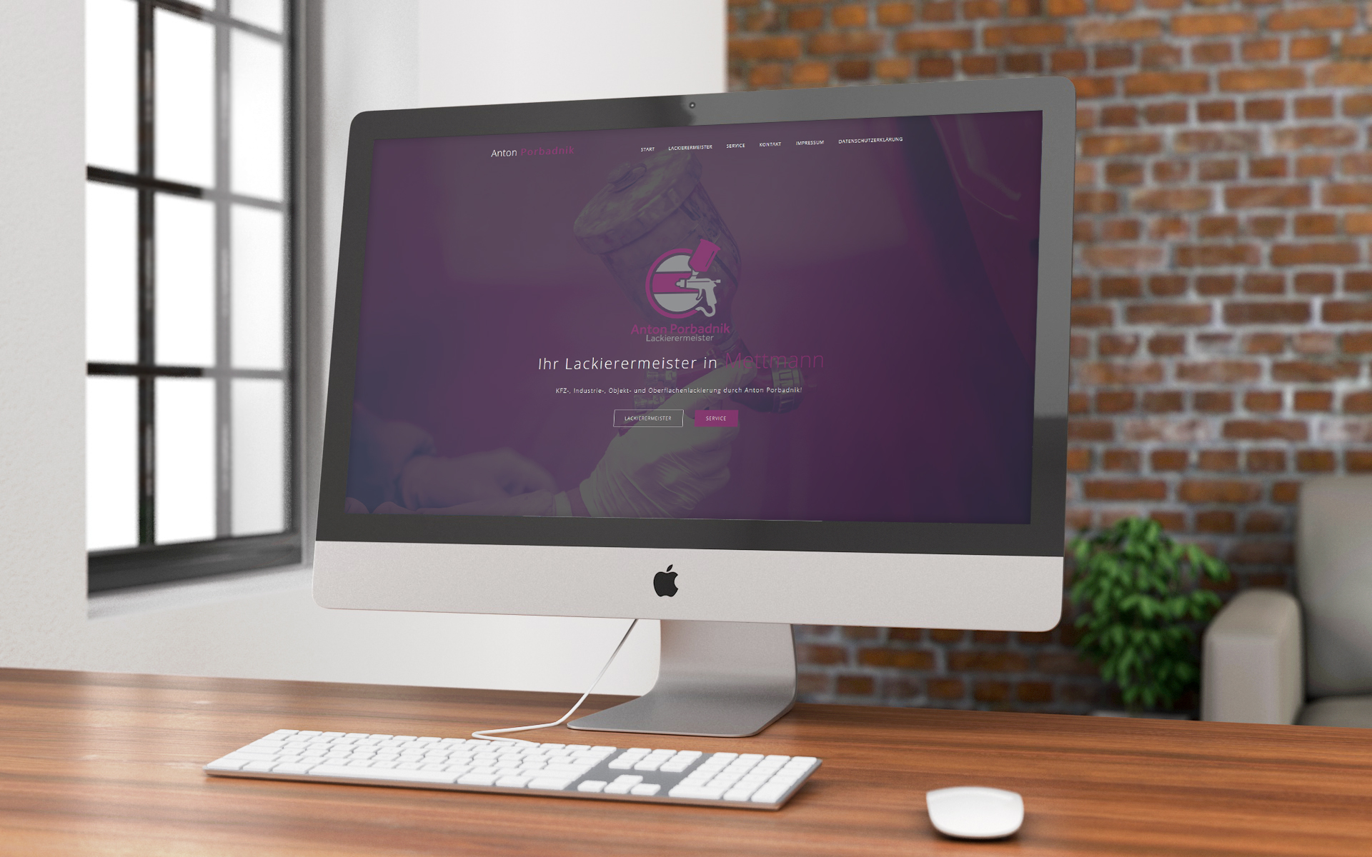 Webseite am PC Lackierermeister Anton Porbadnik
