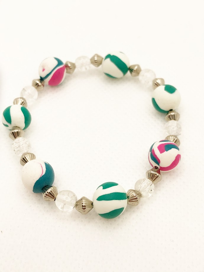 Green and Pink Bead Bracelet