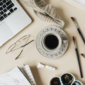 paint, paintbrush, coffee, laptop, art, beige