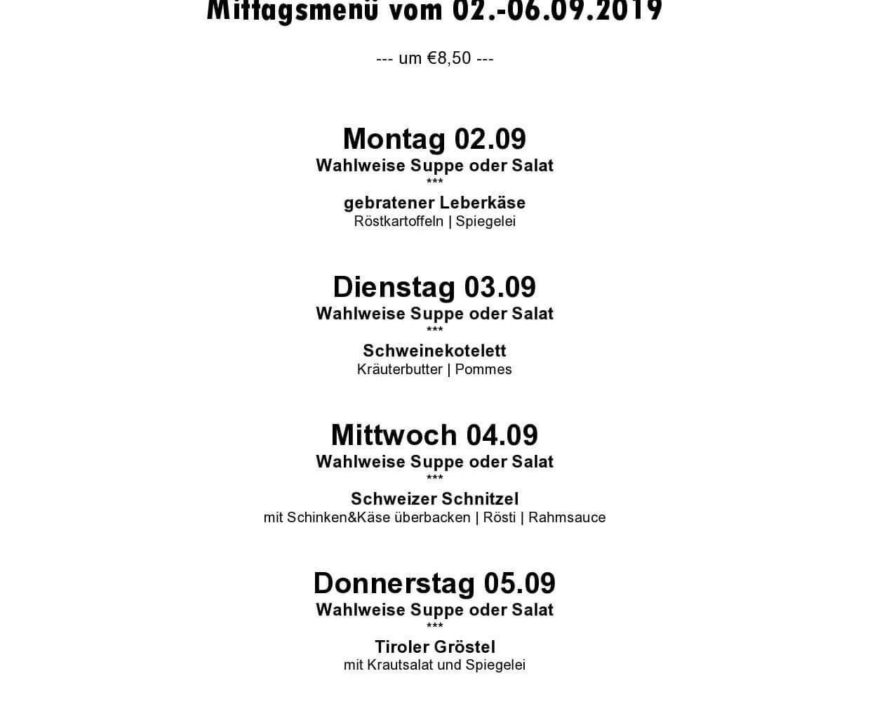 Wochenmenü 02.09- 06.09.2019