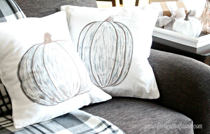 Painted Pumpkin Designs and How to Make Pillow Covers on a couch.