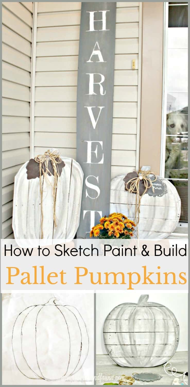 DIY Pallet Pumpkins for an outdoor fall porch. Neutral fall decor, diy fall decor