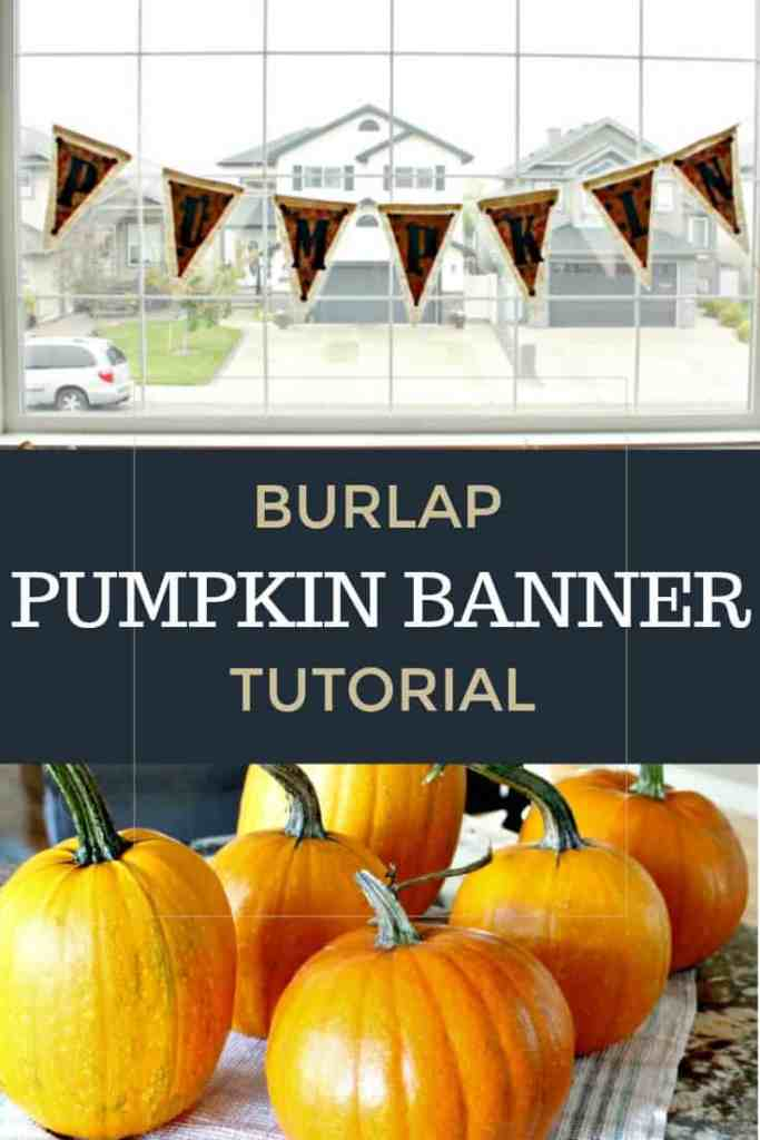 Fall banner made with burlap and scrapbook paper in traditional colours for fall decorating.