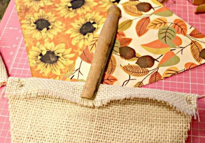 How to attach burlap to cording for a fall pumpkin banner craft project.