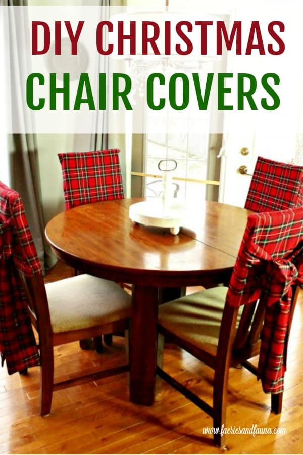 Christmas chair covers in red tartam with long bow sashes
