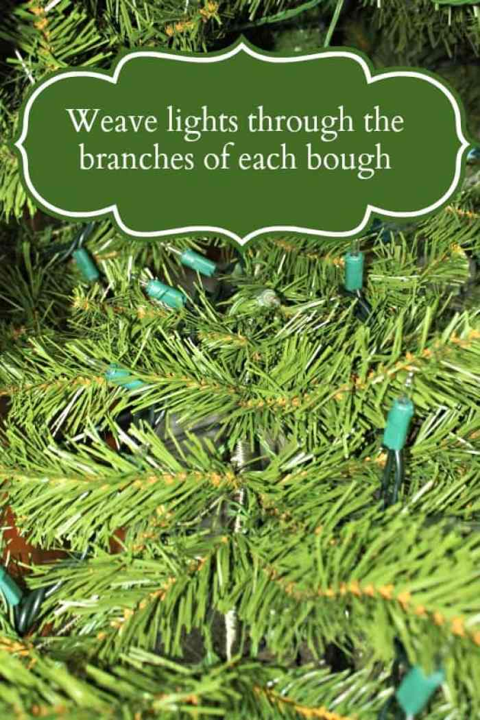How to Decorate a Christmas Tree, Weaving lights through the branches