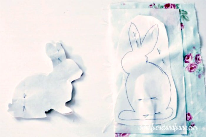 Applique patterns of bunnies for a DIY Spring Cushion, or throw pillow.