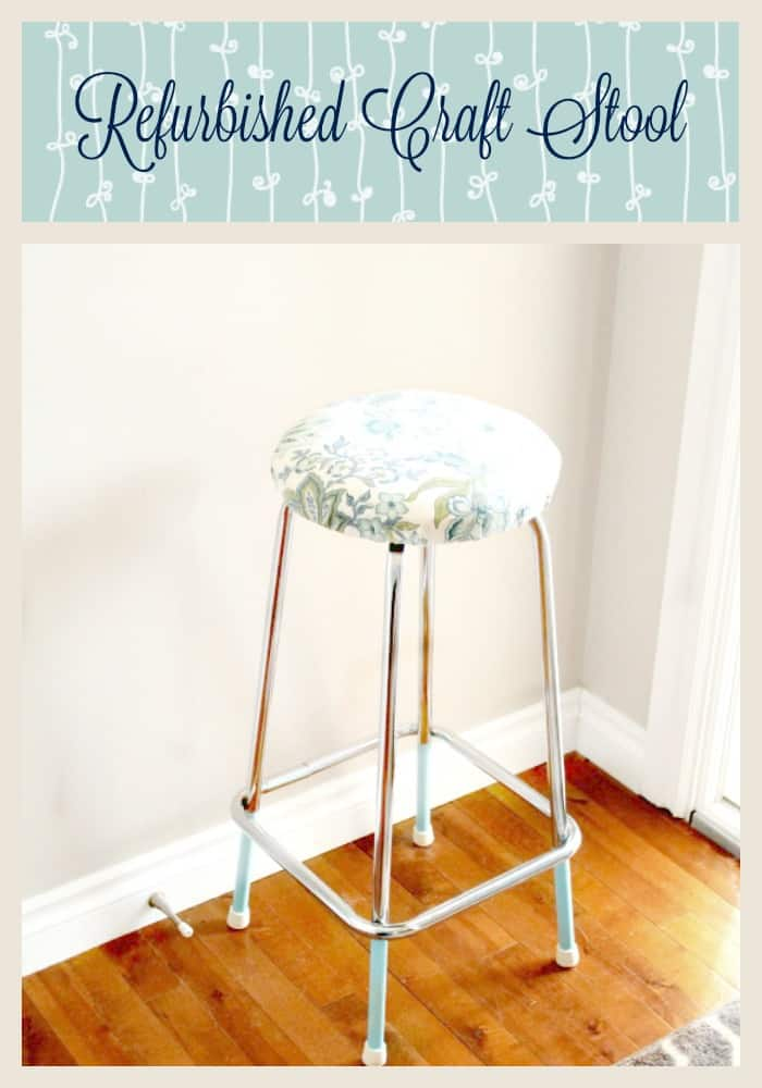 Refurbished Stool, Refinished Stool, Reupholstered Stool