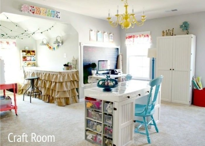 A beautiful craft room or hobby room with shelves, art, storage, chalk board and various craft room storage ideas and organizational ideas. Craft room ideas, craft room ideas on a budget, hobby room idea, sewing room idea, craft area ideas,craft room inspiration, home office craft room ideas.