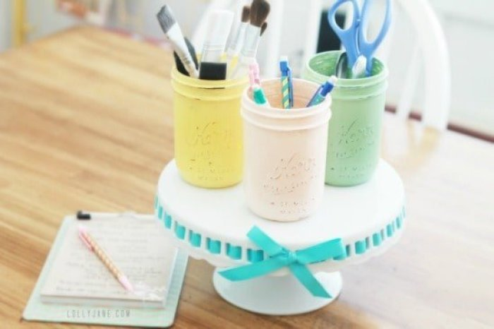 A mason jar craft project for organizing craft room supplies on a budget. Craft room ideas, craft room ideas on a budget, hobby room idea, sewing room idea, craft area ideas,craft room inspiration, home office craft room ideas.